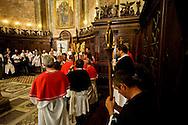 """Roma 25 Luglio 2015<br /> Le Confraternite della Corsica, della Diocesi di Ajaccio, con una cerimonia religiosa nella chiesa di S. Crisogono a Trastevere  hanno onorato la Madonna de Noantri, trovata da alcuni pescatori corsi nel 1535 alla foce del Tevere, e ricordato la Guardia còrsa papale, che nell'anno 1603,  il papa Clemente VIII arruolò in Corsica 600 fanti,  con funzioni di guardia del pontefice e di milizia urbana a Roma. I corsi si concentrarono sull'isola Tiberina e in Trastevere, dove la chiesa di San Crisogono fu """"titolo nazionale"""" e basilica cimiteriale dei còrsi.<br /> Rome 25 July 2015<br /> The brotherhoods of Corsica, the Diocese of Ajaccio, with a religious ceremony in the church of S. Crisogono in Trastevere have honored Our Lady Noantri, found by some fishermen courses in 1535 at the mouth of the Tiber, and recalled the Corsican Guard  was a military unit of the Papal States composed exclusively of Corsican mercenaries on duty in Rome, having the functions of an urban militia and guard for the Pope.The Corsican Guard was formally founded in 1603 under Pope Clement VIII. The courses of 16th century, they concentrated on Tiber Island and in the part of Trastevere lying between the harbour of Ripa Grande and the church of San Crisogono San Crisogono became the national church and cemetery basilica of the Corsican nation in Rome, and over the centuries was used as burial place of several Corsican military officers."""