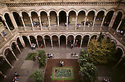 Interior courtyard of the University of Barcelona, Barcelona, Spain.