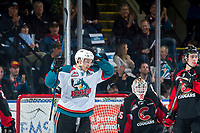 KELOWNA, CANADA - MARCH 14:  Carsen Twarynski #18 of the Kelowna Rockets celebrates a third period goal against the Prince George Cougars on March 14, 2018 at Prospera Place in Kelowna, British Columbia, Canada.  (Photo by Marissa Baecker/Shoot the Breeze)  *** Local Caption ***