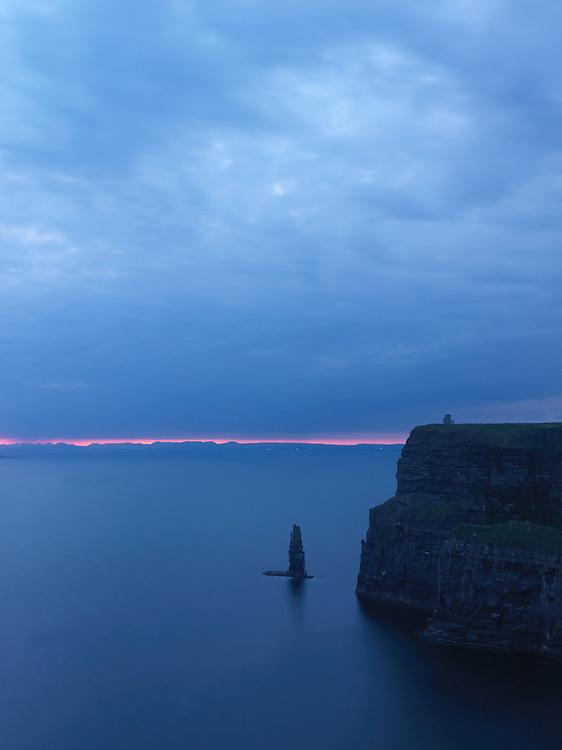 Ireland Cliffs of Moher Burren region, O'Briens Tower, at night