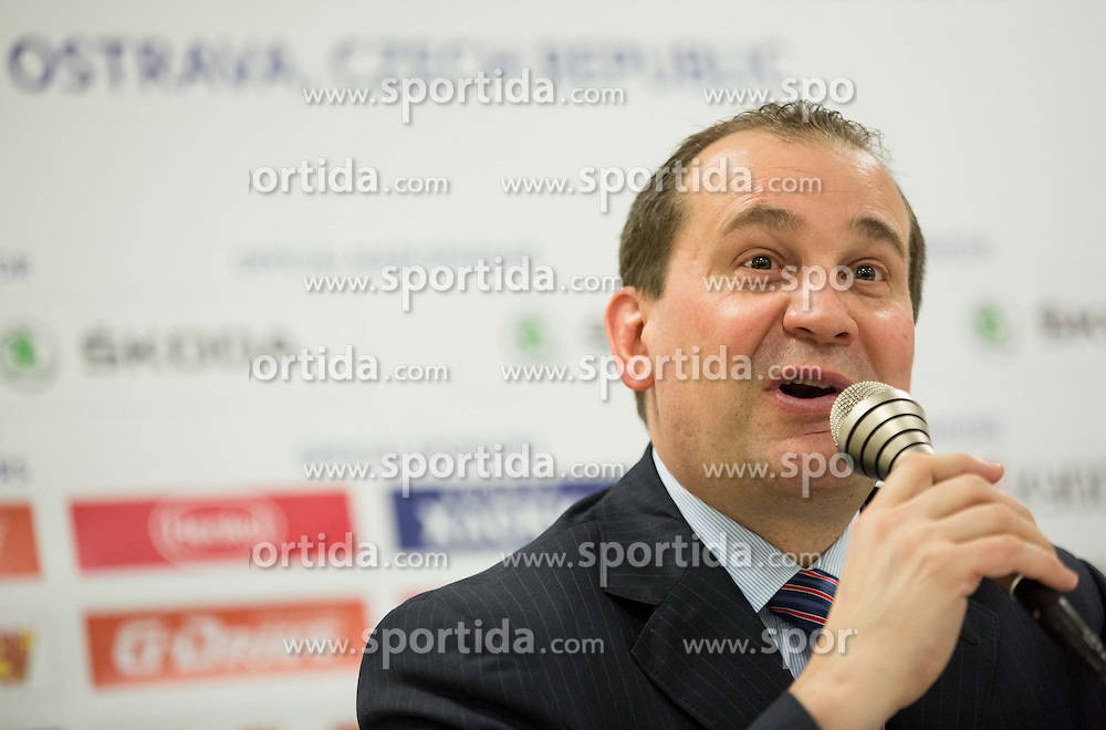 Todd Richards, head coach of USA during press conference after the Ice Hockey match between Russia and USA at Day 4 in Group B of 2015 IIHF World Championship, on May 4, 2015 in CEZ Arena, Ostrava, Czech Republic. Photo by Vid Ponikvar / Sportida