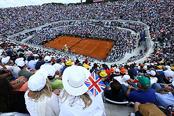 May 18, 2018 - Rome, Italy - A british fan with a great britain flag at Foro Italico in Rome, Italy  during Tennis ATP Internazionali d'Italia BNL quarter-finals on May 18, 2018. (Credit Image: © Matteo Ciambelli/NurPhoto via ZUMA Press)