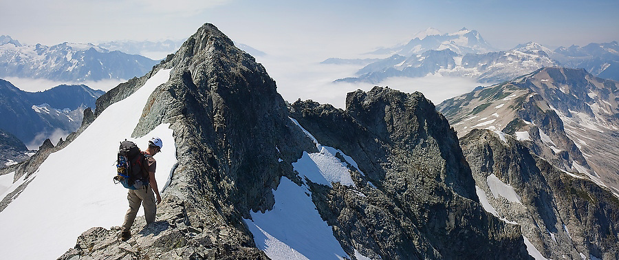 Jim Prager traverses the summit ridge of Whatcom Peak in North Cascades National Park, Washington.
