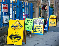 Leith, Edinburgh, Scotland, United Kingdom, 11 April 2019. Leith Walk Council By-Election:  One of the polling stations at Lorne Primary School, with Scottish Green activist Jenny waiting to greet voters. The election is taking place as a result of the resignation of Councillor Marion Donaldson. The election fields 11 candidates, including the first ever candidate for the For Britain Movement in Scotland, Paul Stirling.  The For Britain Movement was founded by former UKIP leadership candidate Anne Marie Waters in March 2018.  <br /> <br /> Sally Anderson/ Edinburgh Elite Media