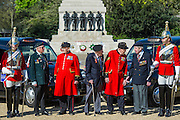 Tpr Oliver Wain, 24, Rick Forest, 89 D-day, Reginald Widerspoon, 90, Charles Jeffries, 93 D-day/Dessert Rat, John Cuthbert, 92, Peter Kent, 90 Royal Navy, Tpr Joel Robinson, 20 - Second World War Veterans, Reg Wilderspin (89) and John Cuthbert (92), and serving Guardsmen on Horse Guards Parade Ground to highlight Royal British Legion events on Victory in Europe (VE) Day. The Legion is also announcing that veterans and their carers will receive funding towards attending the event on the weekend of the 8-10th May.<br /> <br /> Places will be available for a series of commemorative events over the weekend including on VE Day itself, Friday 8 May, when a Service of Remembrance will be held at The Cenotaph, with a national two minute silence at 3pm. On Sunday 10 May, there will a Service of Thanksgiving at 11am at Westminster Abbey attended by HM The Queen, followed by a parade from the Abbey to Horse Guards Parade and into St James&rsquo;s Park, where the Legion will host a lunch reception for the veterans.