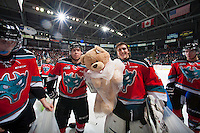 KELOWNA, CANADA - DECEMBER 6: Jackson Whistle #1 and Rourke Chartier #14 of Kelowna Rockets stand on the ice after the annual teddy bear toss to support children's hospital on December 6, 2014 at Prospera Place in Kelowna, British Columbia, Canada.  (Photo by Marissa Baecker/Shoot the Breeze)  *** Local Caption *** Rourke Chartier; Jackson Whistle;