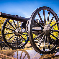 Picture of Cannon in New Orleans Washington Artillery Park. The civil war cannon monument is an 1861 Parrott Rifle located in the French Quarter near Jackson Square in New Orleans Louisiana