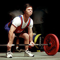 Special Olympics athlete Marty Sheets, 46, competes in the deadlift division of the powerlifting competition at Stewart Theatre in Raleigh Monday afternoon. Sheets is from Greensboro.<br /> Photo: Mike Spencer.