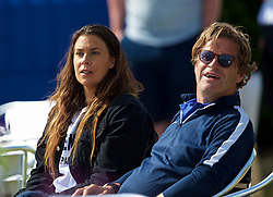 LIVERPOOL, ENGLAND - Saturday, June 23, 2018: Marion Bartolli (FRA) and tournament director Anders Borg during day three of the Williams BMW Liverpool International Tennis Tournament 2018 at Aigburth Cricket Club. (Pic by Paul Greenwood/Propaganda)