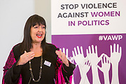 Jo-Ann Downs (Former Member of Provincial Legislature & Chairman of the Board of NGO Bobbi Bear, South Africa) Session 6: THE CIVIL SOCIETY PERSPECTIVE ON VAW IN POLITICS 'Violence Against Women in Politics' Conference, organised by all the UK political parties in partnership with the Westminster Foundation for Democracy, 19th and 20th of March 2018, central London, UK.  (Please credit any image use with: © Andy Aitchison / WFD