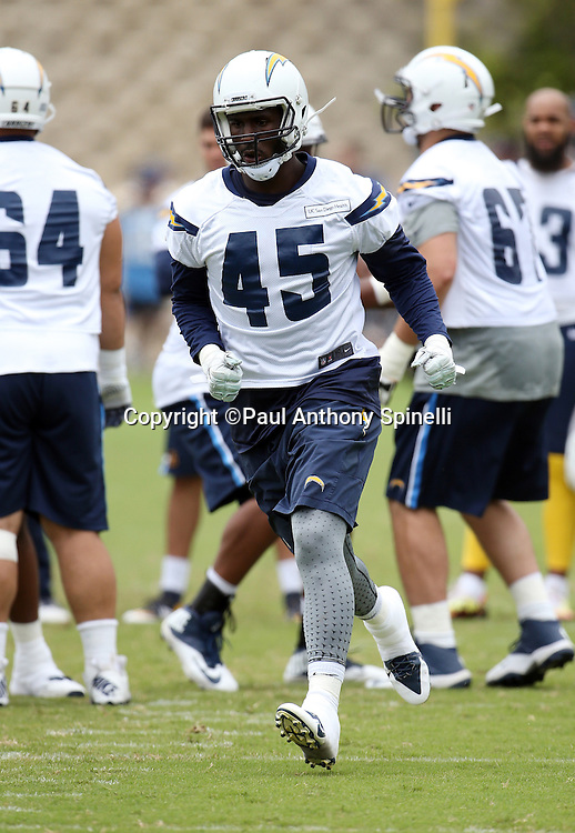 San Diego Chargers tight end Asante Cleveland (45) goes out for a pass during the Chargers 2016 NFL minicamp football practice held on Tuesday, June 14, 2016 in San Diego. (©Paul Anthony Spinelli)