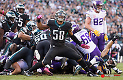 Oct 23, 2016; Philadelphia, PA, USA; Philadelphia Eagles middle linebacker Jordan Hicks (58) reacts to a goal line stand against the Minnesota Vikings during the second half at Lincoln Financial Field. The Philadelphia Eagles won 21-10. Mandatory Credit: Bill Streicher-USA TODAY Sports