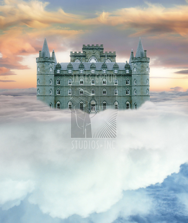 Castle in the sky resting on white cumulus cloud with sun setting on the horizon with space for copy