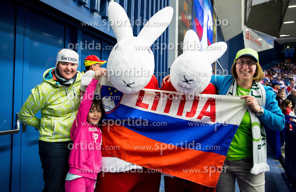 Supporters of Slovenia with mascots Bob and Bobek during Ice Hockey match between Russia and Slovenia at Day 3 in Group B of 2015 IIHF World Championship, on May 3, 2015 in CEZ Arena, Ostrava, Czech Republic. Photo by Vid Ponikvar / Sportida