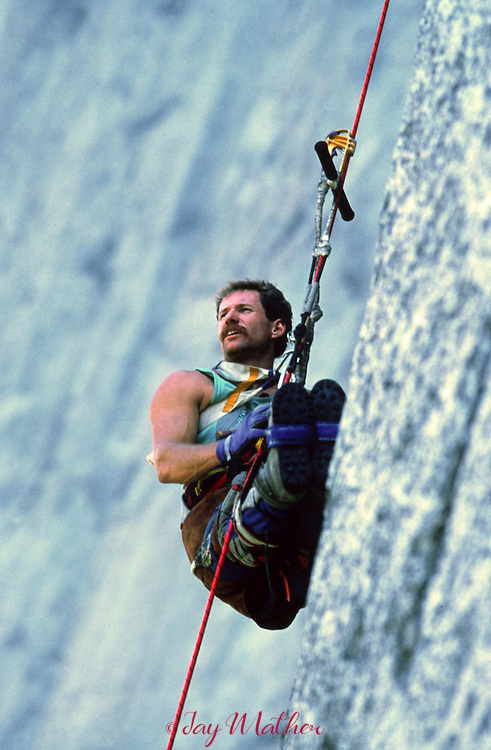 Mark Wellman takes a break on his ascent of El Capitan. 1989