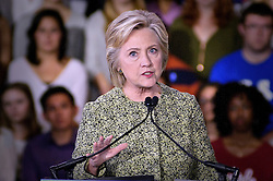 Democratic Presidential Candidate Hillary Clinton addresses Millennials at a September 19, 2016 rally at Temple University's Mitten Hall, in North Philadelphia, Pennsylvania.