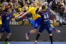 Branko Vujovic of RK Celje Pivovarna Lasko adn Daniel Dujshebaev of RK Celje Pivovarna Lasko during handball match between RK Celje Pivovarna Lasko (SLO) and Paris Saint-Germain Handball (FRA) in VELUX EHF Champions League, on February 11, 2018 in Dvorana Zlatorog, Celje, Slovenia. Photo by Urban Urbanc / Sportida