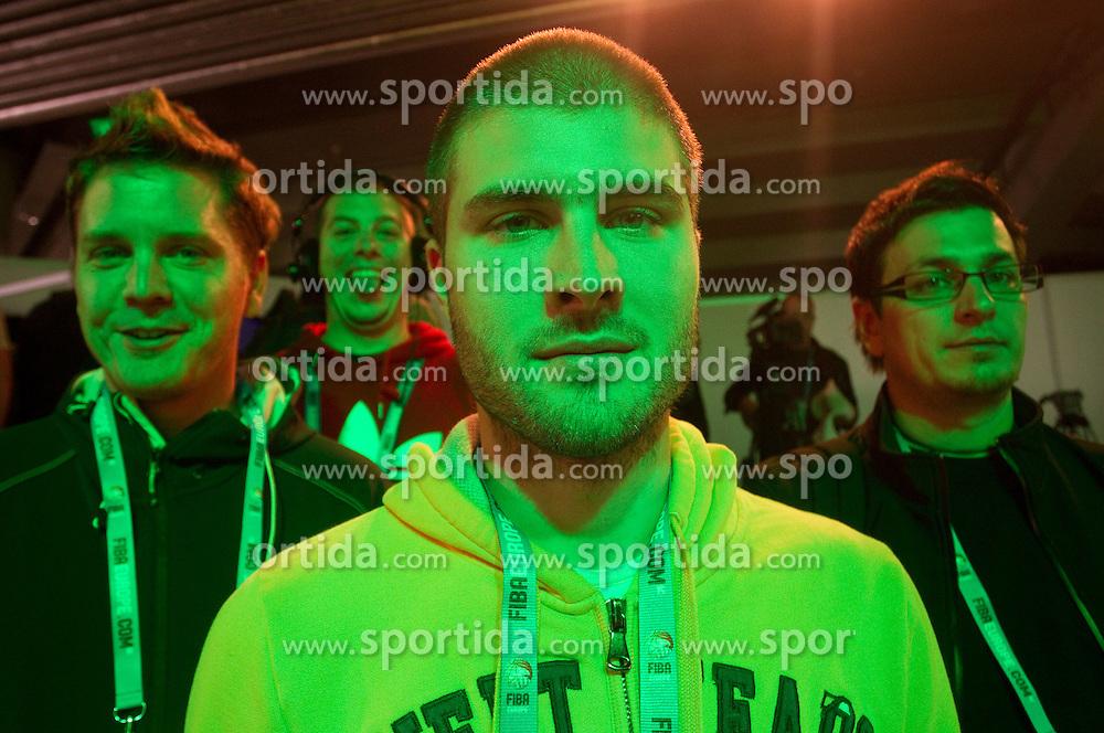 Jaka Lopatic, Rok Orazem, Gregor Terzic and Lucijan Pejcic at presentation of Eurobasket Slovenia 2013 during FIBA Europe Eurobasket Lithuania 2011, on September 18, 2011, in Arena Zalgirio, Kaunas, Lithuania. (Photo by Vid Ponikvar / Sportida)