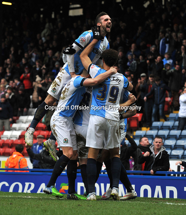 Blackburn Rovers vs Stoke City , FA Cup 5th Round Ewood Park 14/02/2015<br />   Rovers' Josh king heads in and celebrates his goal with teammates <br /> Pic Steve Parkin