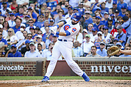August 17, 2017 - Chicago, IL, USA - The Chicago Cubs' Alex Avila hits an RBI double during the fifth inning against the Cincinnati Reds at Wrigley Field in Chicago on Thursday, Aug. 17, 2017. The Reds won, 13-10. (Credit Image: © Armando L. Sanchez/TNS via ZUMA Wire)