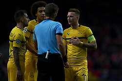 November 6, 2018 - Madrid, Spain - Paco Alcacer, Axel Witsel,Marco Reus of Borussia Dortmund during the Group A match of the UEFA Champions League between AtleticoLucien Favre of Borussia Dortmund Madrid and Borussia Dortmund at Wanda Metropolitano Stadium, Madrid on November 07 of 2018. (Credit Image: © Jose Breton/NurPhoto via ZUMA Press)