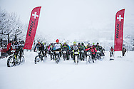 The start of stage 5 of the first Snow Epic, the Trübsee climb near Engelberg, in the heart of the Swiss Alps, Switzerland on the 17th January 2015<br /> <br /> Photo by:  Nick Muzik / Snow Epic / SPORTZPICS