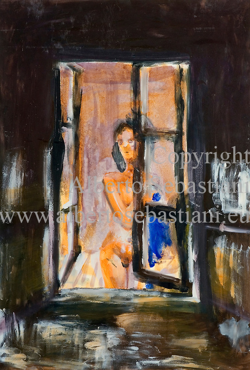 an original painting representing a girl in her window