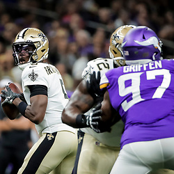 Aug 9, 2019; New Orleans, LA, USA; New Orleans Saints quarterback Teddy Bridgewater (5) looks to throw against the Minnesota Vikings during the first quarter at the Mercedes-Benz Superdome. Mandatory Credit: Derick E. Hingle-USA TODAY Sports