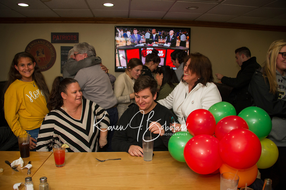 Andrew Hosmer at the 405 in Laconia awaiting election results.  Karen Bobotas for the Laconia Daily Sun