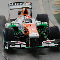 F1 Australian Grand Prix 16 March 2013 Qualifying Session 1.Qualifying Session 1. Adrian Sutil Sahara Force India flys around a wet Albert Park circuit during qualifying..(c) MILOS LEKOVIC | StockPix.eu