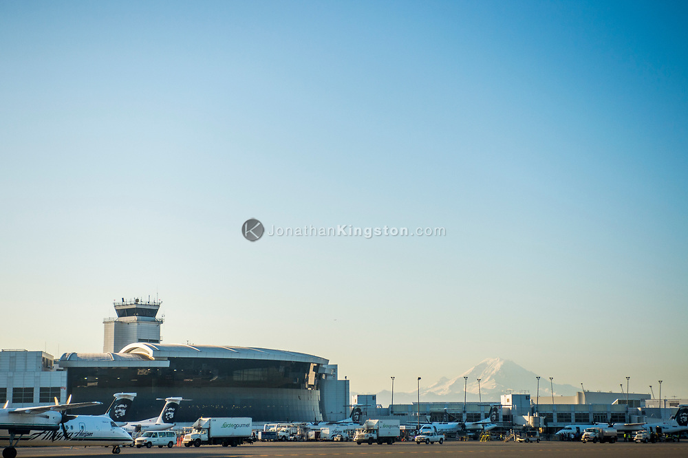 The Seattle airport with Mt Rainier visible in the background.