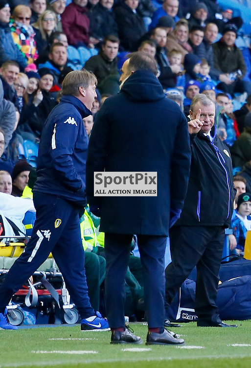 Steve Evans has a word and points a finger during Sheffield Wednesday v Leeds United, SkyBet Championship, Saturday 16th January, Hilsborough, Sheffield