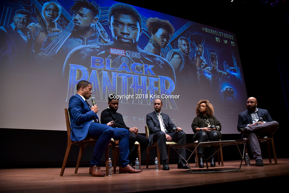 """Director Ryan Coogler, costume designer Ruth Carter, and executive producer Nate Moore join the Washington Post's David Betancourt in conversation before a special advance screening of """"Black Panther"""" on Sunday, February 11 at the National Museum of African American History of Culture in Washington, D.C. (Photo by Kris Connor)"""