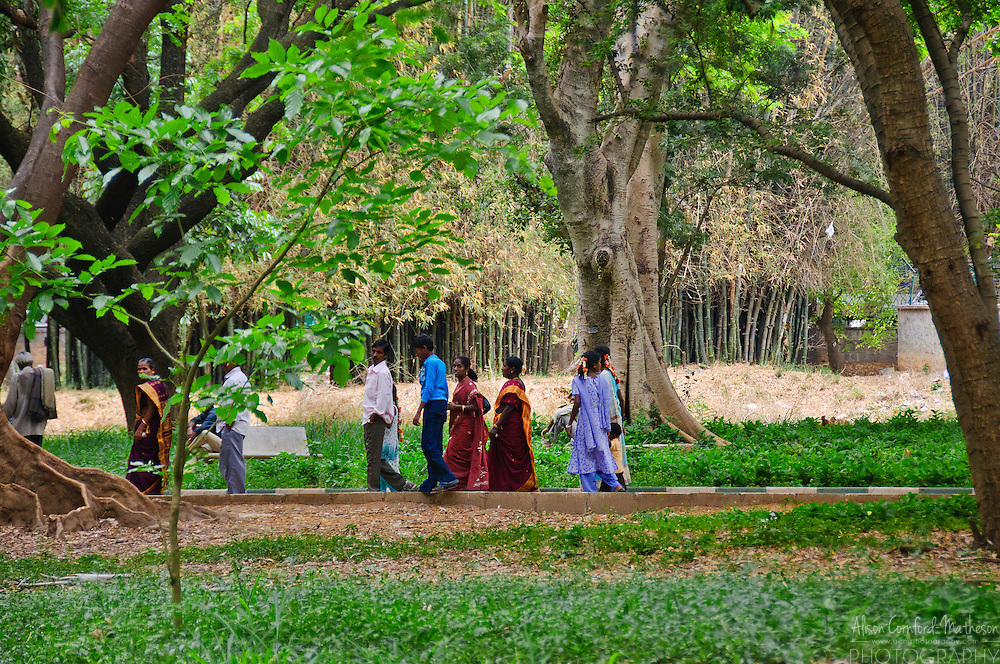 A Indian family strolls in Cubbon Park, Bangalore, India.