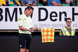 assistant referee Frank Jansen with a broken flag during the Pre-season Friendly match between ADO Den Haag and Panathinaikos at the Cars Jeans Stadium on July 28, 2018 in The Hague, The Netherlands