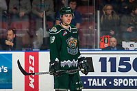 KELOWNA, CANADA - JANUARY 9:  Bryce Kindopp #19 of the Everett Silvertips stands on the ice against the Kelowna Rockets on January 9, 2019 at Prospera Place in Kelowna, British Columbia, Canada.  (Photo by Marissa Baecker/Shoot the Breeze)