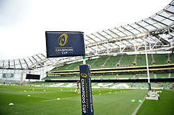 A general view of European Rugby Champions Cup branding on a corner flag. European Rugby Champions Cup quarter final, between Leinster Rugby and Bath Rugby on April 4, 2015 at the Aviva Stadium in Dublin, Republic of Ireland. Photo by: Patrick Khachfe / Onside Images