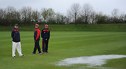 Lancashire players inspect the outfield conditions.  - Mandatory by-line: Alex Davidson/JMP - 04/04/2016 - CRICKET - Taunton Vale Cricket Club - Taunton , England - Somerset County Cricket Club v Lancashire County Cricket Club - Pre Season