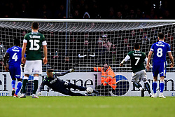 Anssi Jaakkola of Bristol Rovers saves Antoni Sarcevic of Plymouth Argyle penalty to deny Plymouth Argyle taking the lead - Mandatory by-line: Ryan Hiscott/JMP - 01/12/2019 - FOOTBALL - Memorial Stadium - Bristol, England - Bristol Rovers v Plymouth Argyle - Emirates FA Cup second round
