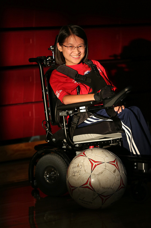 Lexi Heer with represent the United States in power wheelchair soccer in Paris, France in October.  September 12, 2013. She has played soccer since she was 5 and holds the Golden Guard award in the U.S. for the most goals scored for the year. Lexi has a type of Muscular Dystrophy called Spinal Muscular Atrophy.<br /> <br /> Chris Bergin/ for The Star