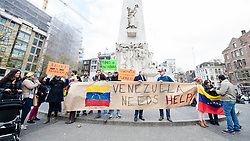 April 29, 2017 - Amsterdam, Netherlands - Venezuelans living in Netherlands, protest against Venezuelan President Nicolás Maduro  in the center of Amsterdam, Netherland on Saturday 29 April 2017. Venezuelans request a statement from the international community about human rights violations and the behavior of Nicolás Maduro's dictatorial regime. (Credit Image: © Romy Arroyo Fernandez/NurPhoto via ZUMA Press)