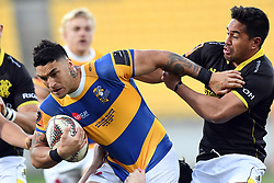 Bay of Plenty's Terrence Hepetema, left, fends off Wellington's Trent Renata in the Mitre 10 Rugby Final  Championship match at Westpac Stadium, Wellington, New Zealand, Friday, October 27, 2017. Credit:SNPA / Ross Setford  **NO ARCHIVING**