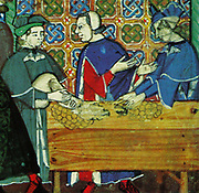 Banking in medieval Genoa, Italy, depicted in a 15th Century, Italian manuscript. Scene shows bankers in a counting house
