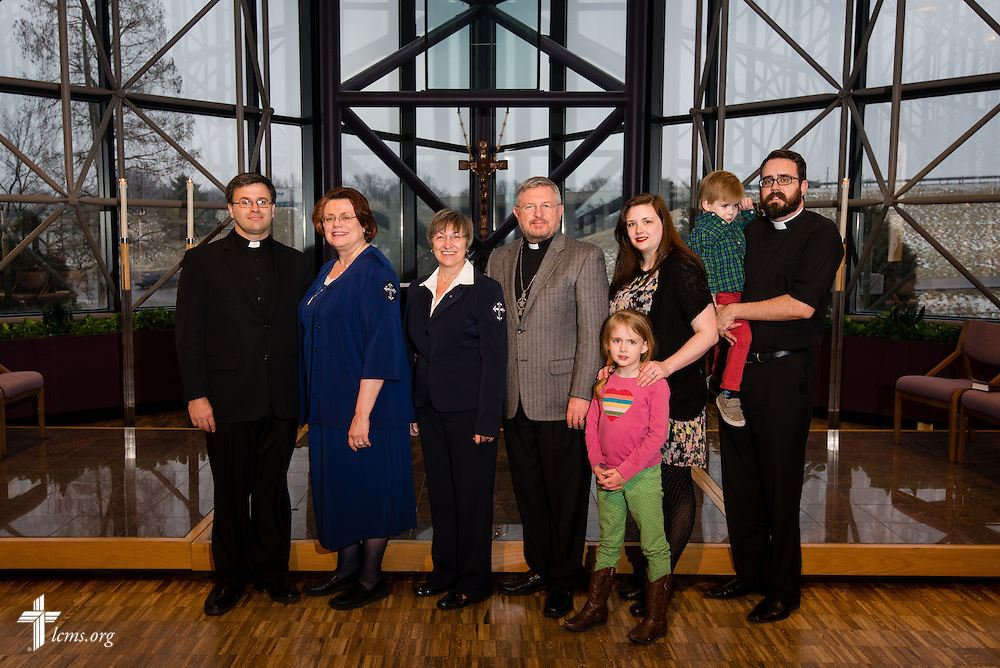 The new Latin American region missionaries with the Rev. Ted Krey (left) are recognized Friday, Feb. 14, 2014, at a Service of Sending at The Lutheran Church--Missouri Synod International Center in Kirkwood, Mo. LCMS Communications/Erik M. Lunsford