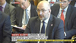 © Licensed to London News Pictures. 17/07/2012. London, UK. Ian Horseman-Sewell, G4S's account manager for the Games giving evidence before MPs on the Home Affairs Select Committee about G4S's failure to provide sufficient security guards for the Olympic Games.  Photo credit : LNP