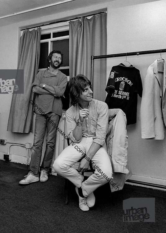Eric Clapton with Jeff Beck backstage at the Secret Policemans Ball