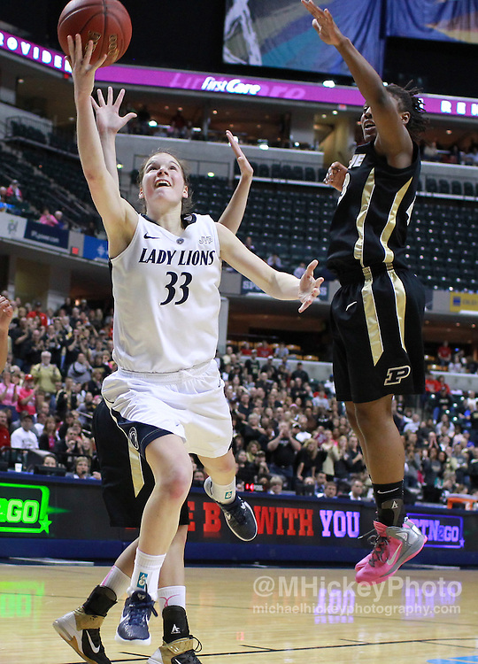 March 03, 2012; Indianapolis, IN, USA; Penn State Lady Lions guard Maggie Lucas (33) shoots the ball against the Purdue Boilermakers  during the semifinals of the 2012 Big Ten Tournament at Bankers Life Fieldhouse. Purdue defeated Penn State 68-66. Mandatory credit: Michael Hickey-US PRESSWIRE