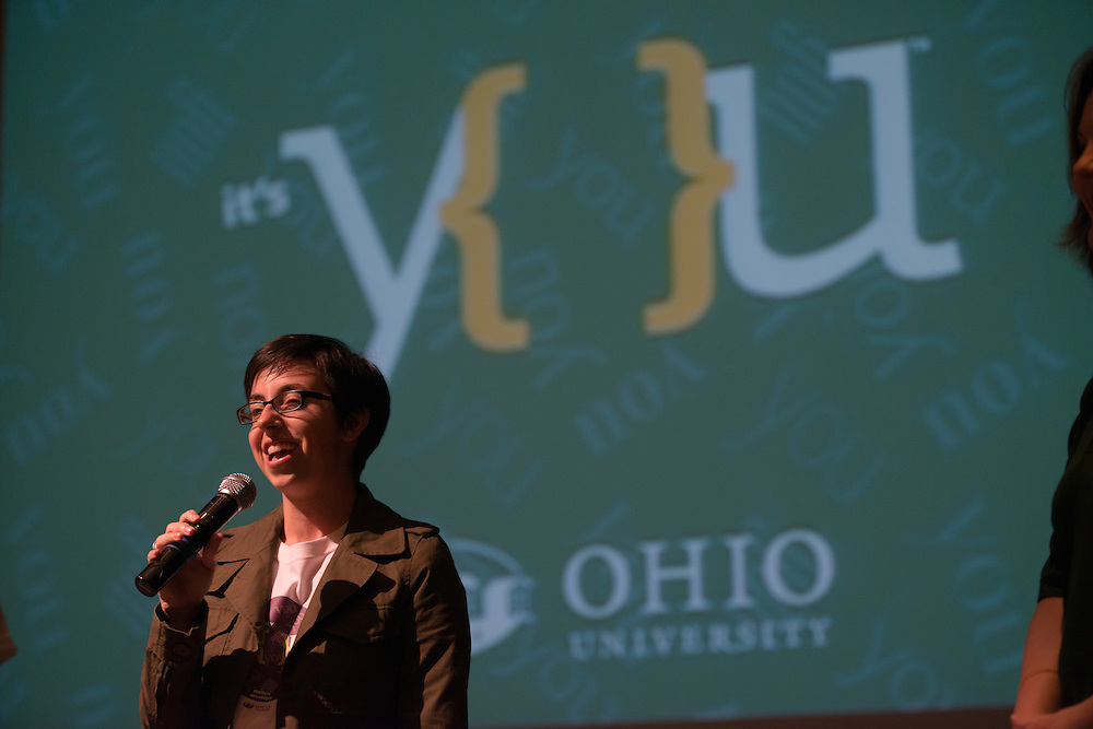 Ohio University students speak about their participation in the University's new branding campaign following the  first public screening of the University's new commercials. Photo by Ben Siegel