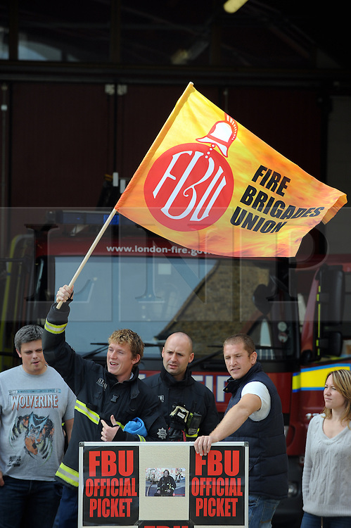 &copy; Licensed to London News Pictures. 25/09/2013<br /> London Firefighters Strike, Sidcup Firefighters in Sidcup, Kent South East London (border)taking strike action walking out of their fire station.<br /> UK Firefighters today (25.09.2013) walked out of fire stations at noon for 4 hours in a battle over pensions.<br /> Photo credit :Grant Falvey/LNP