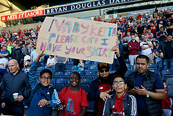 """BLACKBURN, ENGLAND - Thursday, July 19, 2018: Liverpool supporters with a sign """"Naby Keita Please Can I Have Your Shirt"""" before a preseason friendly match between Blackburn Rovers FC and Liverpool FC at Ewood Park. (Pic by David Rawcliffe/Propaganda)"""